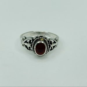 Vintage Carnelian Sterling Silver ring Size 7.5